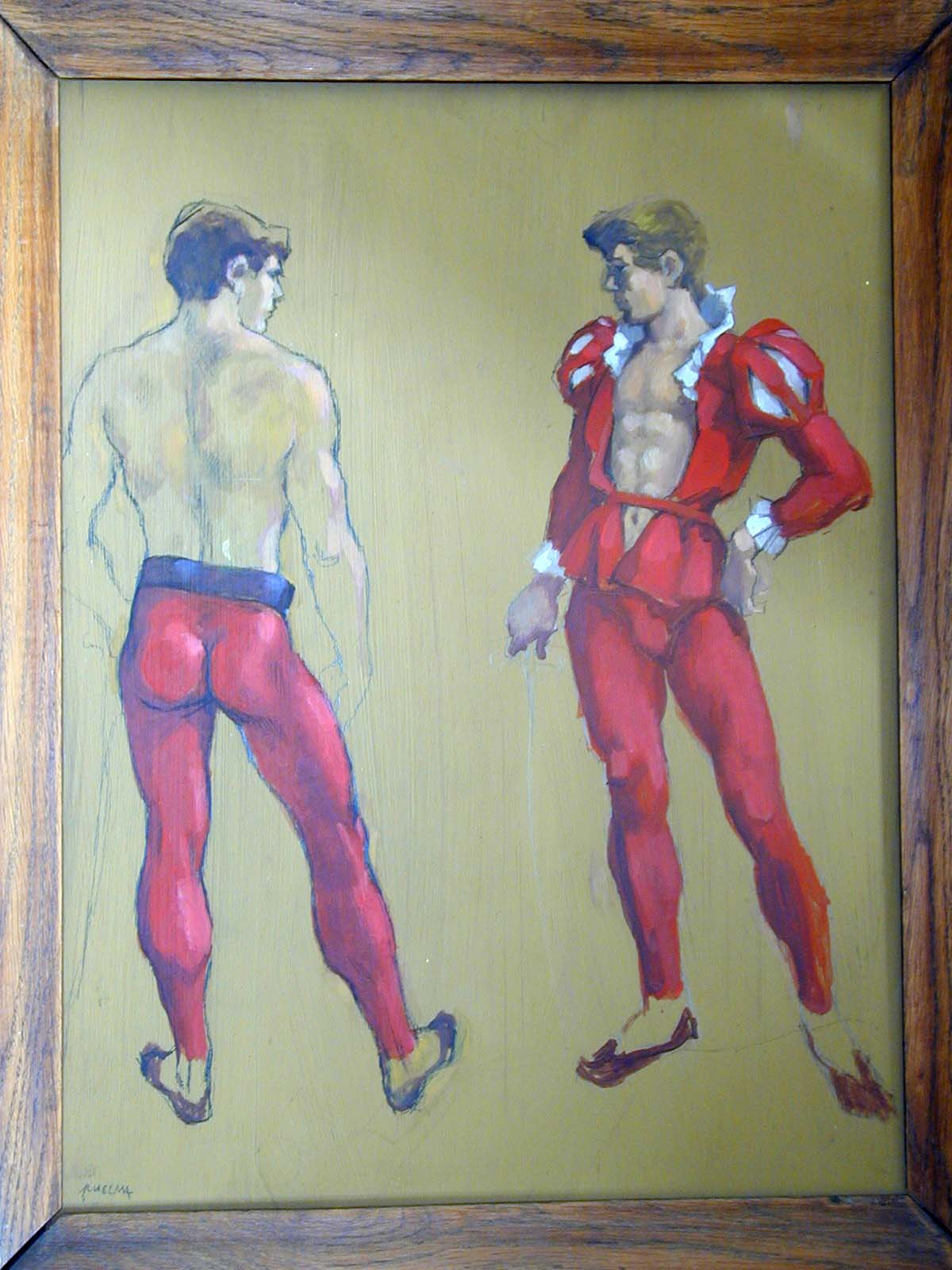 """Enrico Puelma (""""Rico""""): """"Drei Männer in historischen Kostümen"""" (Three men in historical clothes). Call number: Sozarch_F_5005-Zx-014"""