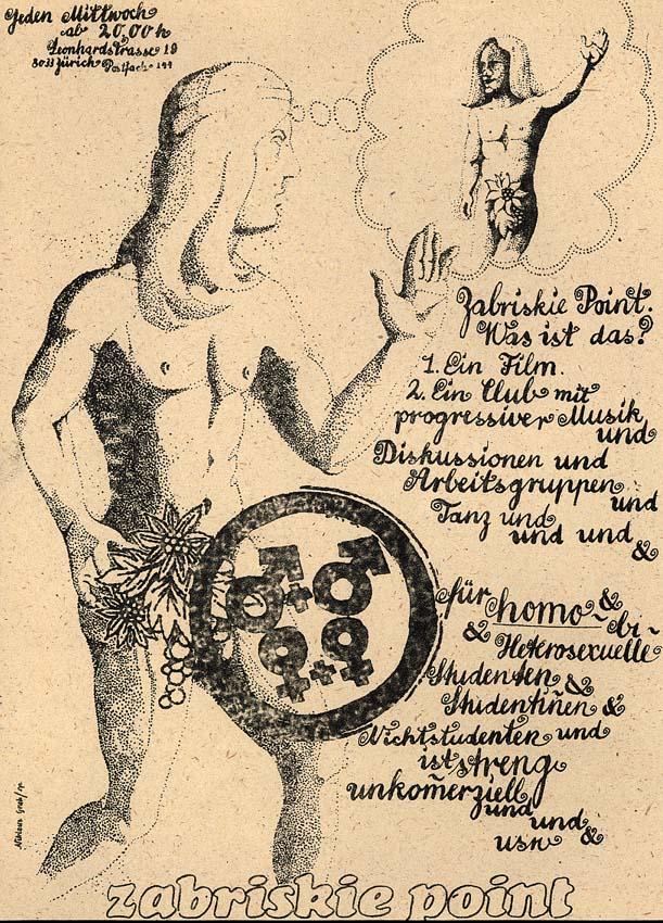 """Première affiche de la HAZ (Groupe d'action homosexuelle de Zurich): Disco """"Zabriskie Point"""", années 1980. Cote: Sozarch_F_5007-Px-004"""
